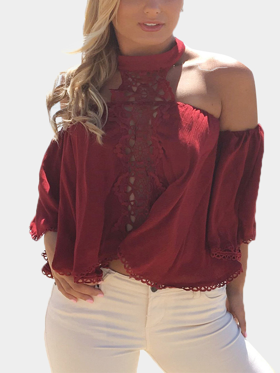 Burgundy Sexy Hollow Lace Details Top lace panel hollow out top with shorts