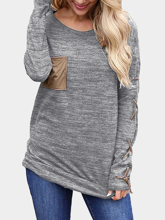 Grey Lace-up Design Plain Round Neck Long Sleeves T-shirt grey lace up design plain round neck long sleeves sweater
