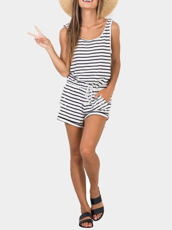 Sleeveless Stripe Pattern Playsuit with Drawstring Waist leisure style sleeveless scoop neck drawstring black and white stripe playsuit for women