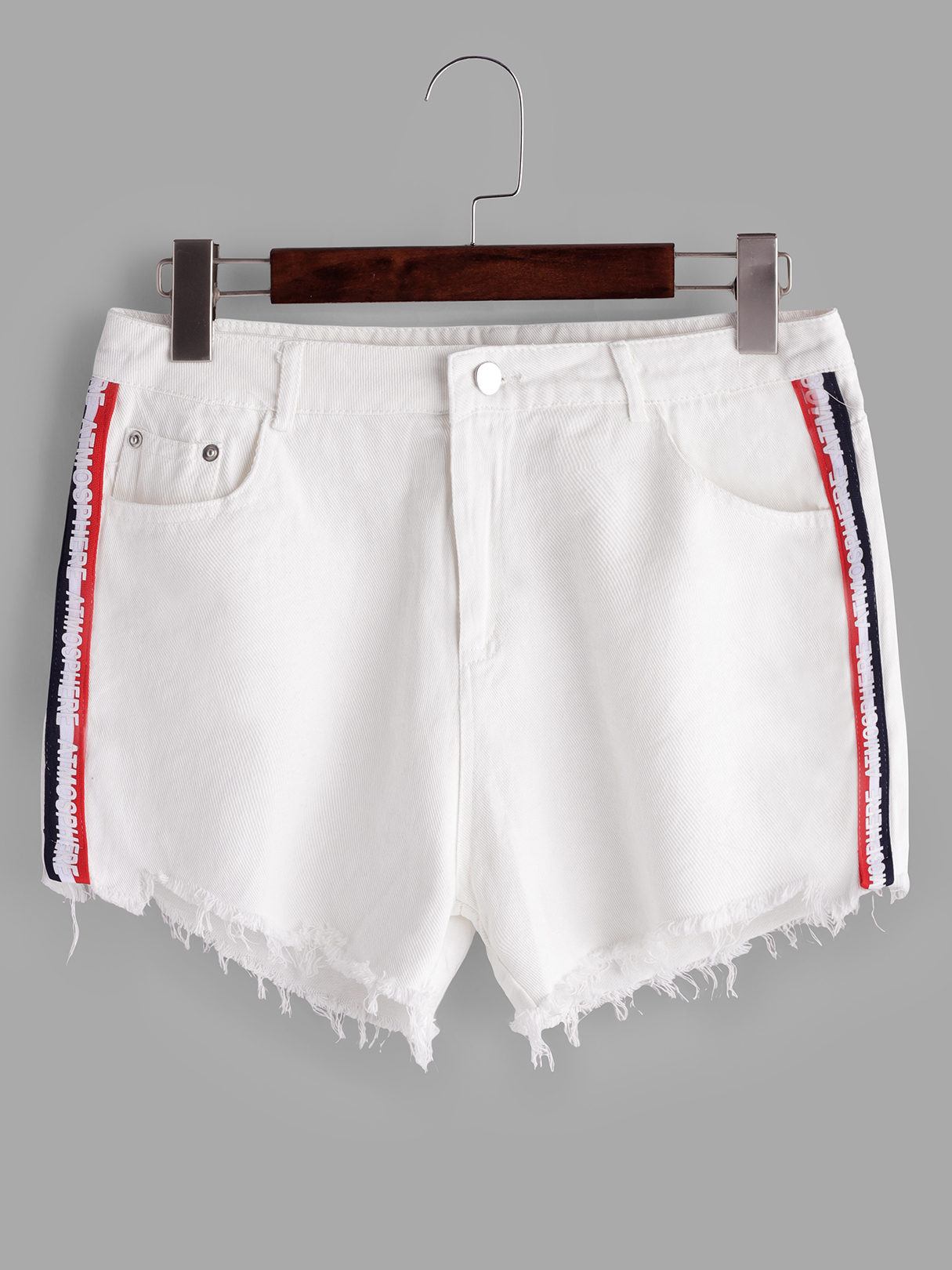 White Splicing Belt Low-waisted Demin Shorts