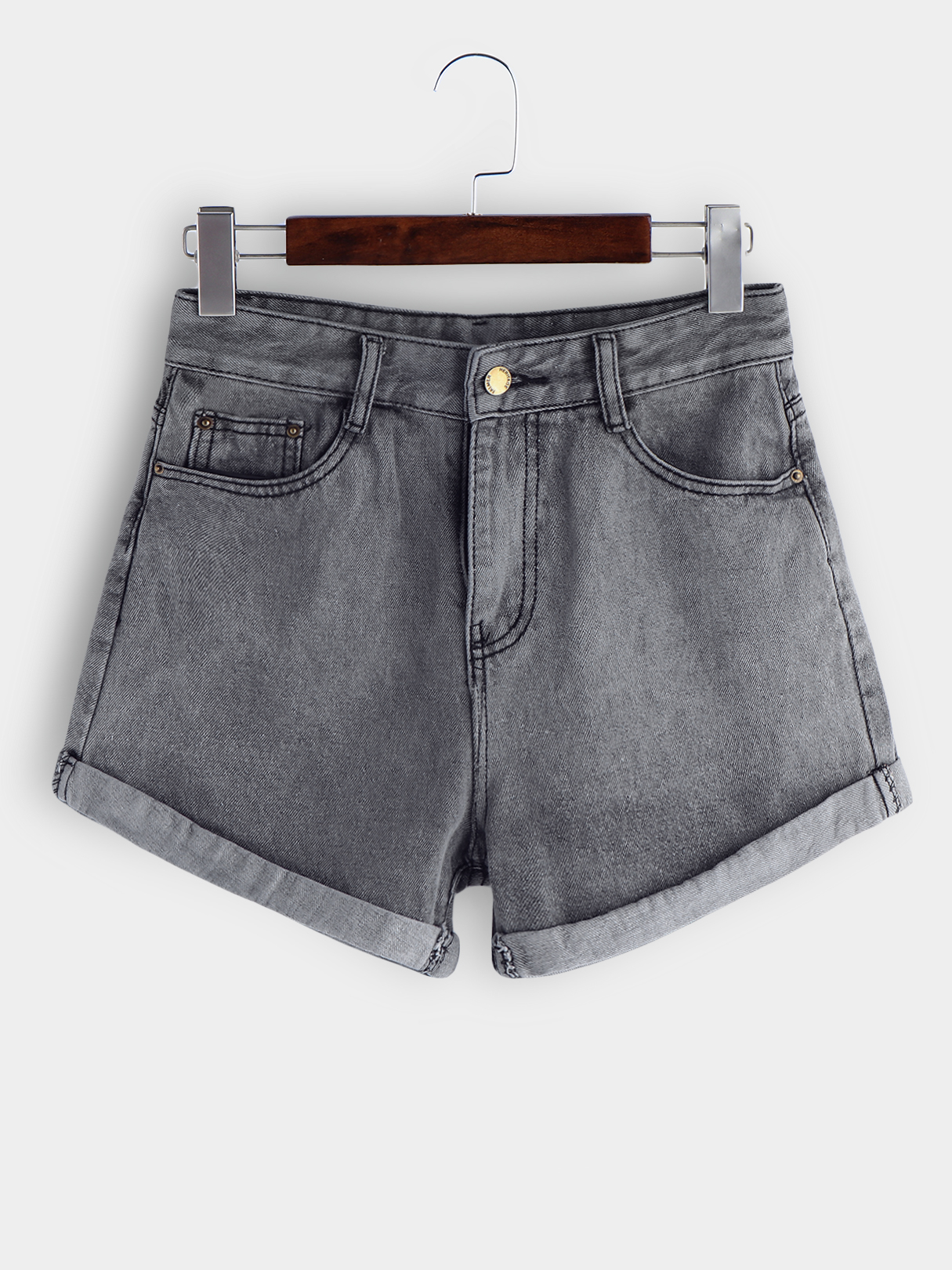 Grey Roll Hem Denim Shorts raw hem ripped button front denim shorts