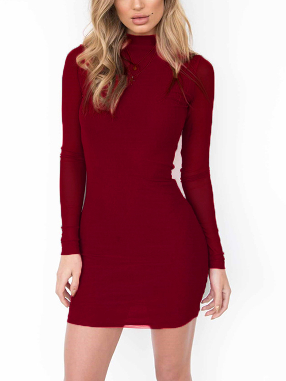 Burgundy See-through Zip Back High Neck Mini Dress zip back fit and flared plaid dress