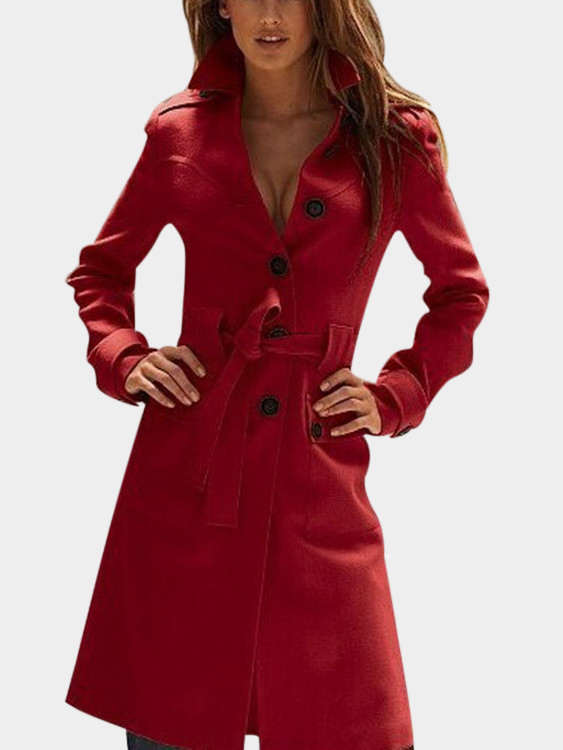 Red Classic Collar Single Breasted Design Tweed Trench Coat