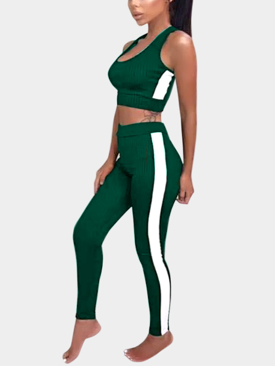 Active Contract Color Sleeveless Tracksuit in Greeen