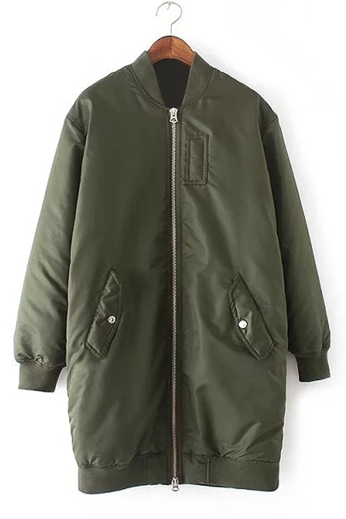 Army Green Longline Coat with Side Pockets