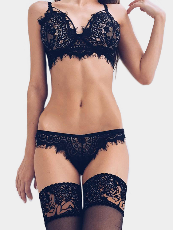 Black See-through Eyelash Lace Trim Sexy Lingerie Set