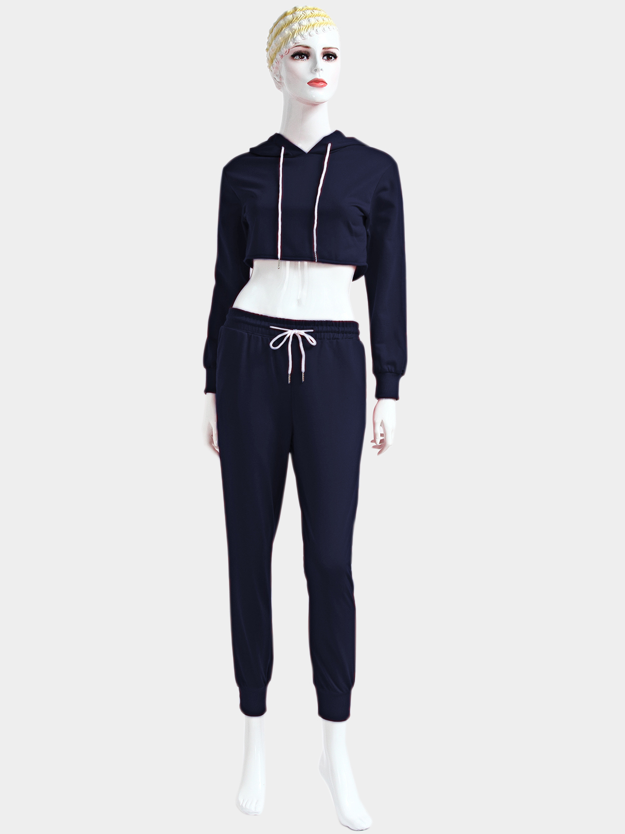 Navy Casual Hooded Drawstring Waist Long Sleeves Sports Suit
