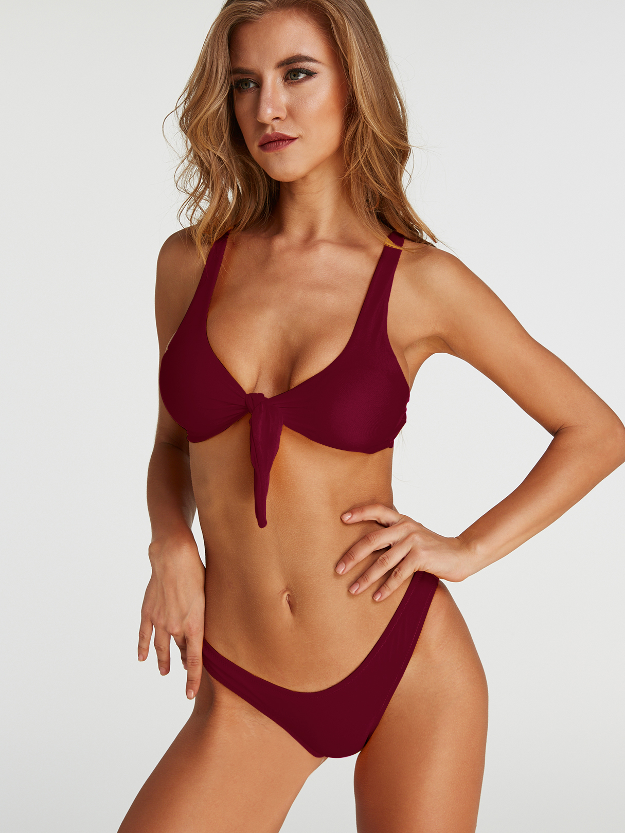 Tie-up Front Two-piece Bikinis Set in Burgundy south shore 3 piece bookcase set in pure white