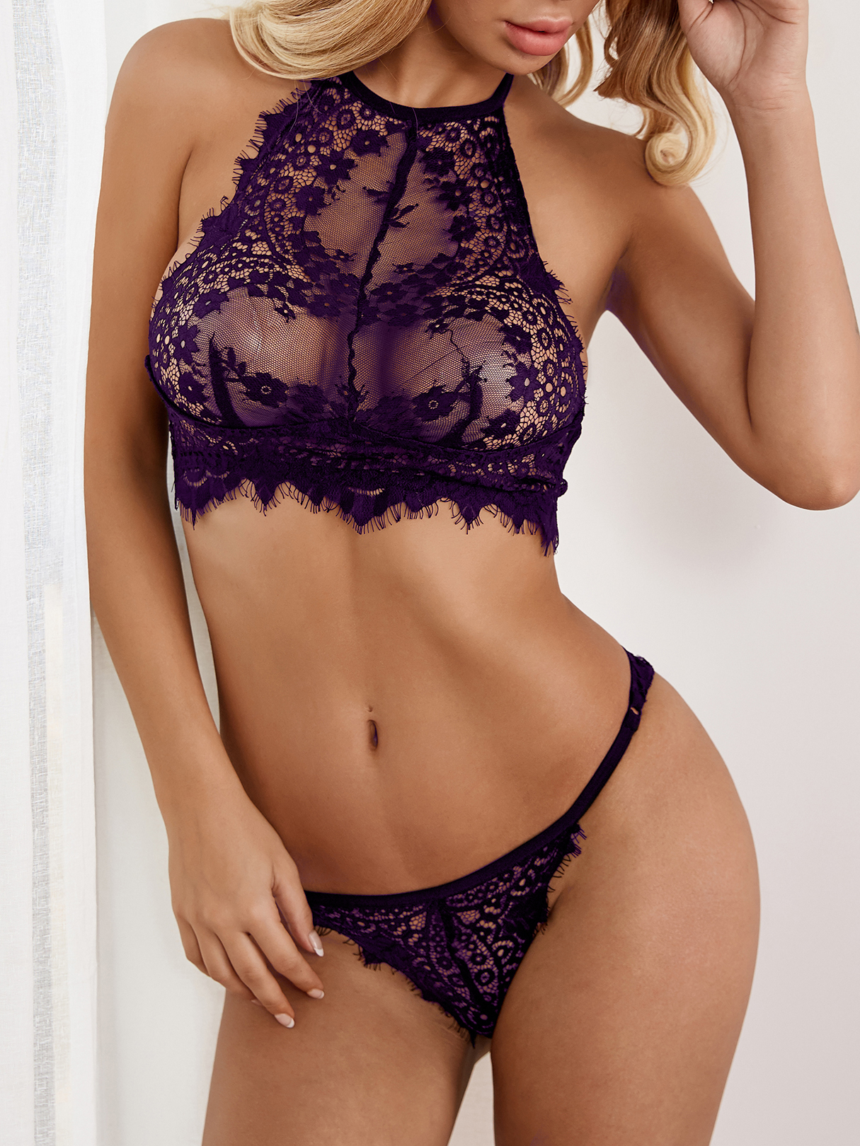 Purple Sexy Delicate See-through Eyelash Trim Halter Lingerie Set without Stockings sexy black lace lingerie set with no falsies