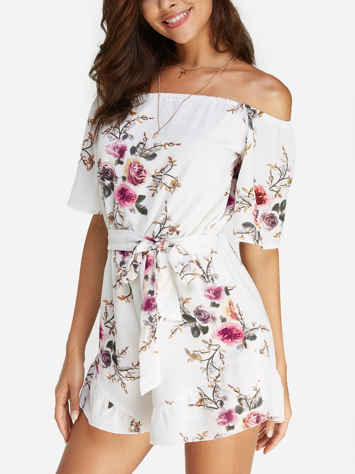 Sexy Off Shoulder Random Floral Print Playsuit sexy life musk