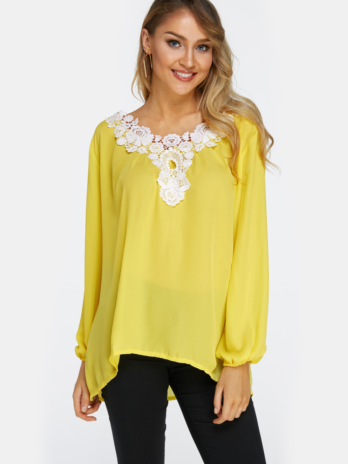 Yellow Lace Details V Neck Long Sleeves T-shirts