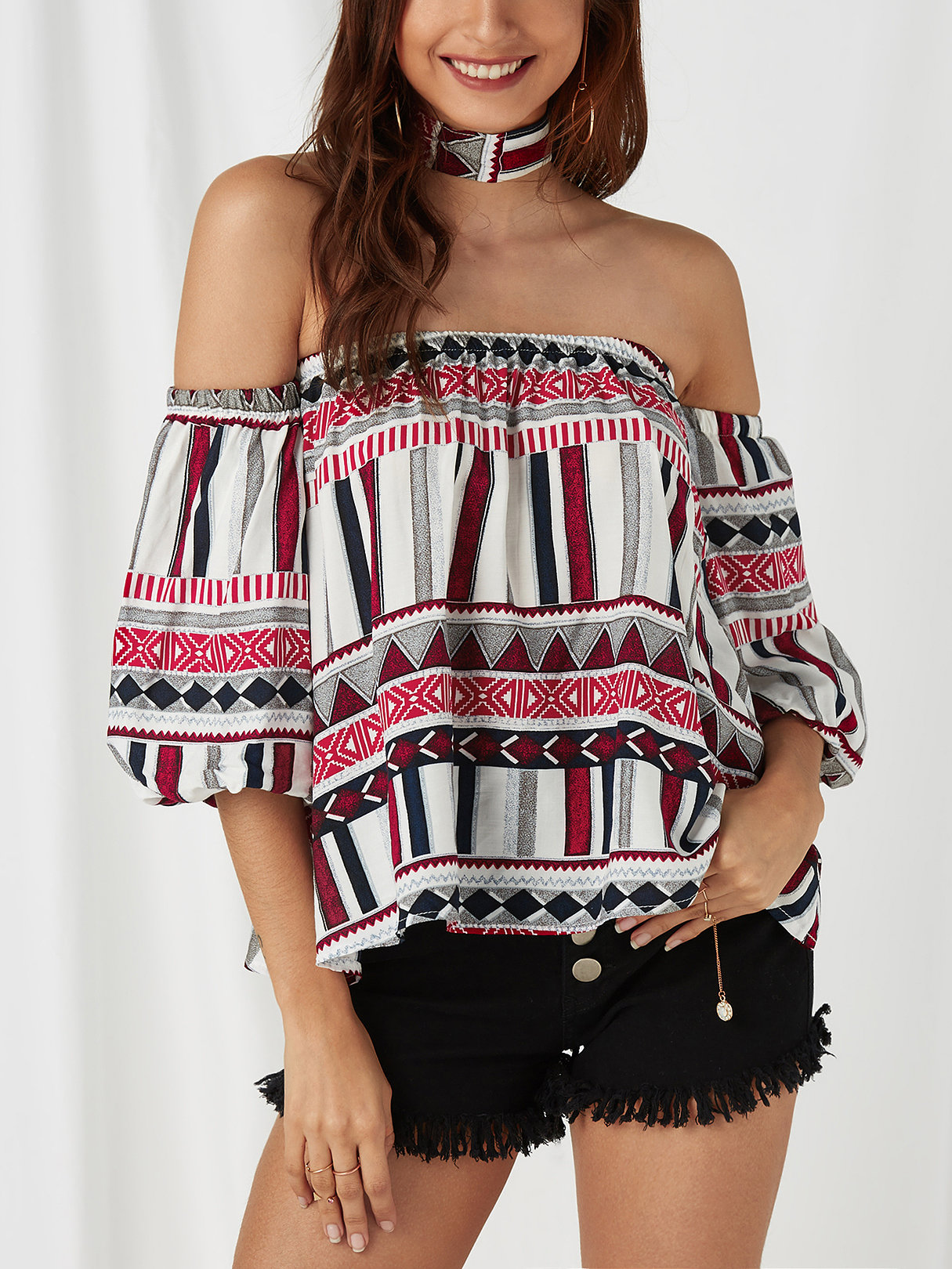 White Geometrical Off The Shoulder Flared Sleeves Top white off the shoulder flared sleeves top