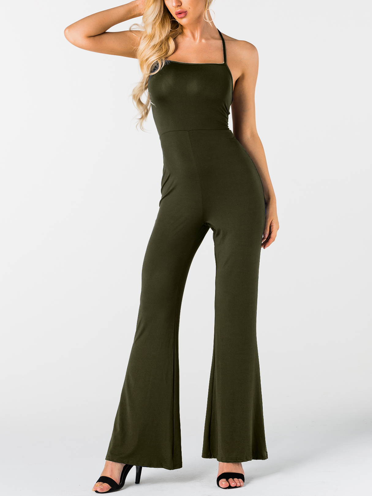 Army Green Lace-up Design Sleeveless Spaghetti Jumpsuit green sexy lace up hollow design sleeveless spaghetti bodycon dress