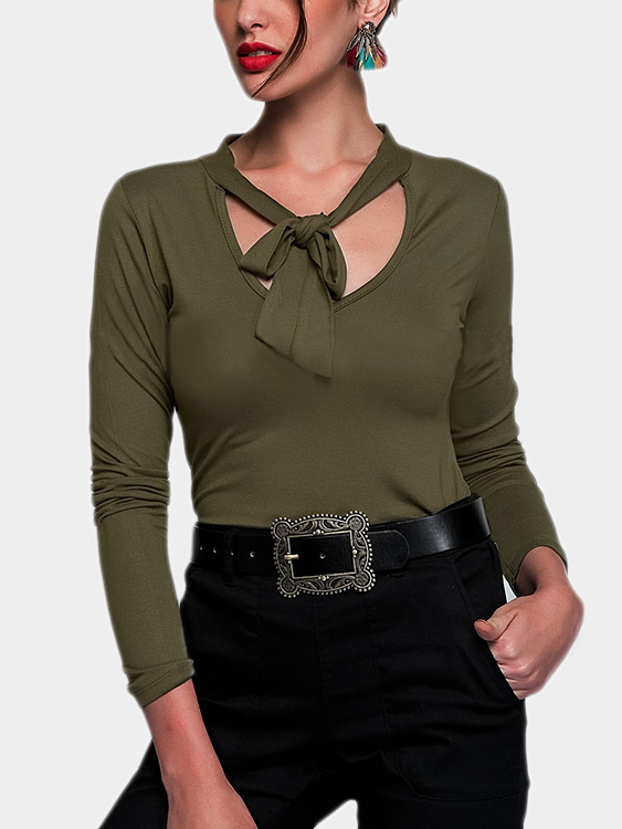 Green V-neck Long Sleeves Self-tie Design T-shirt green self tie