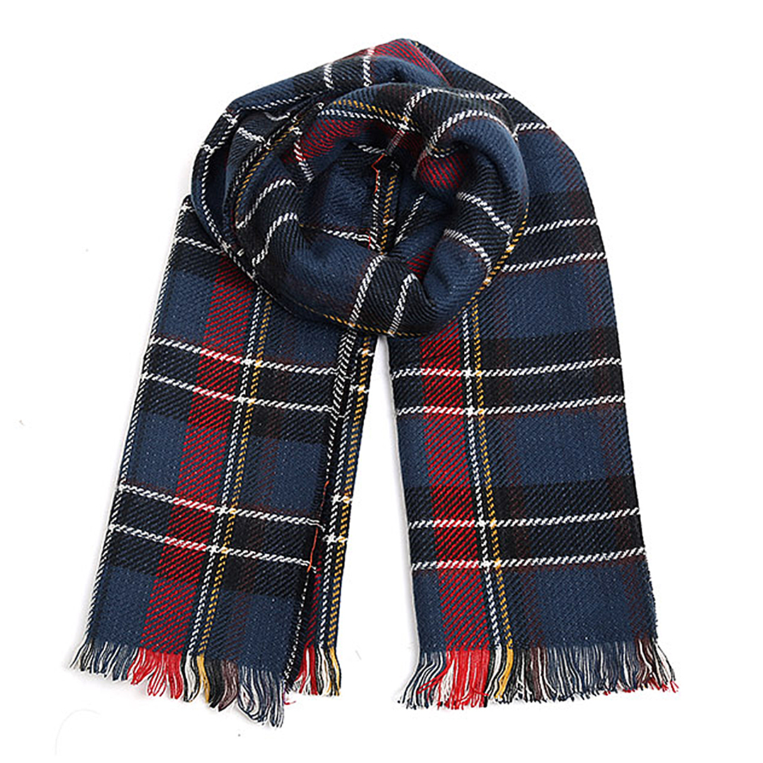 Navy Wrap Scarf in Check Pattern