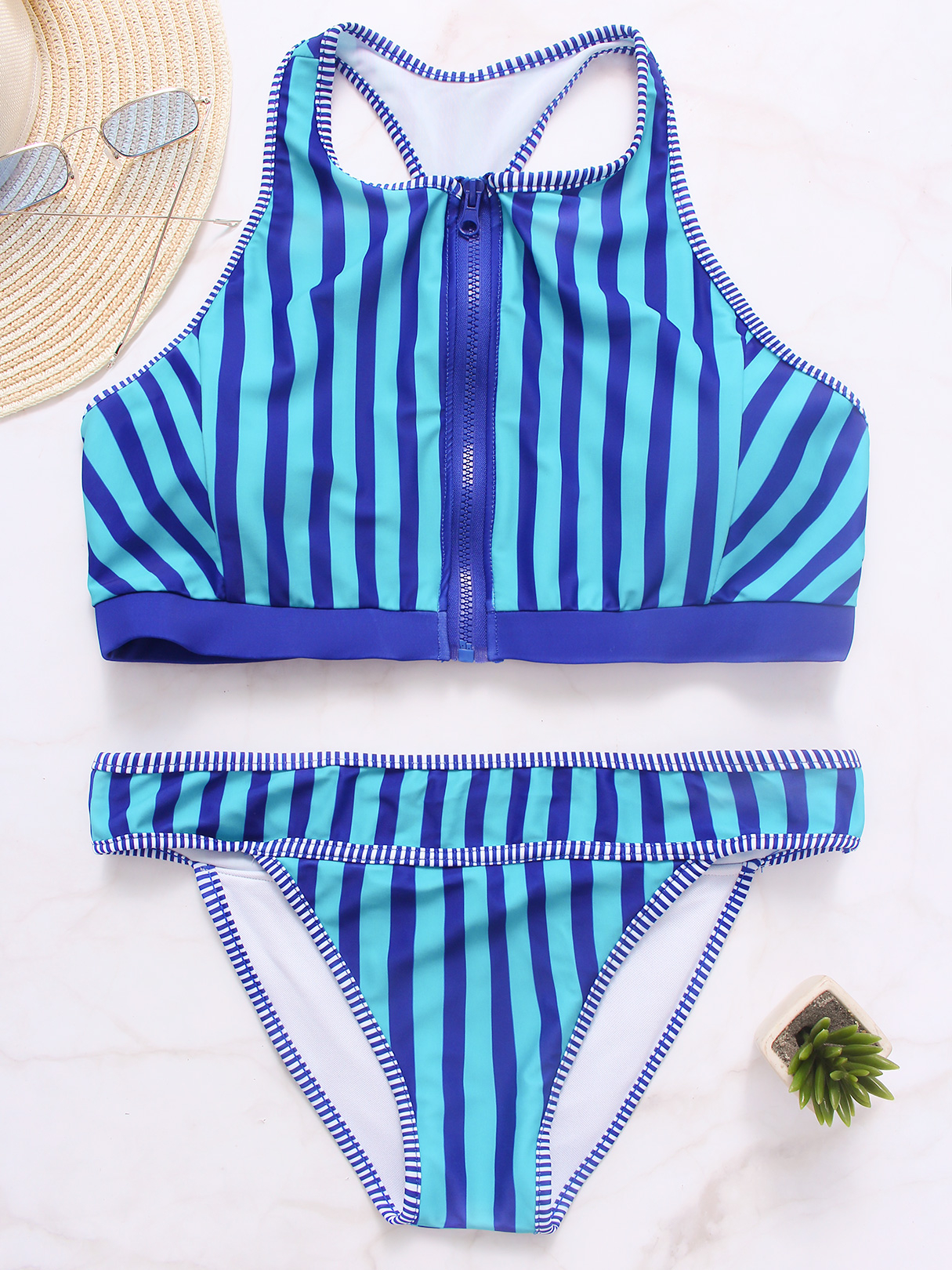 Blue Zip Design Stripe Pattern Halter Bikini Set