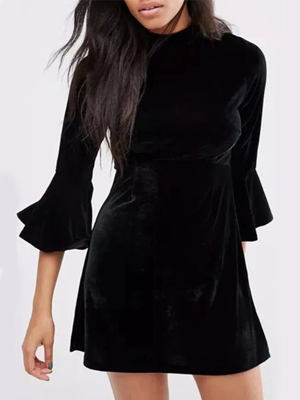 Black Flared Sleeves Velvet Mini Dress with Slit Back zip back fit and flared plaid dress