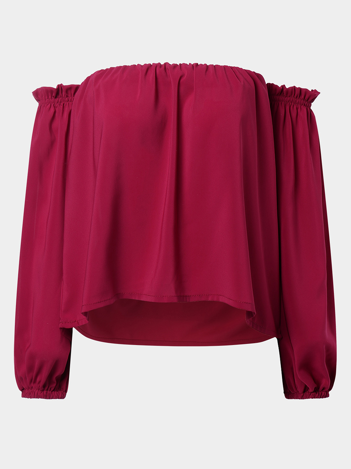Red Pleated Details Off The Shoulder Design Lantern Long Sleeves Blouse