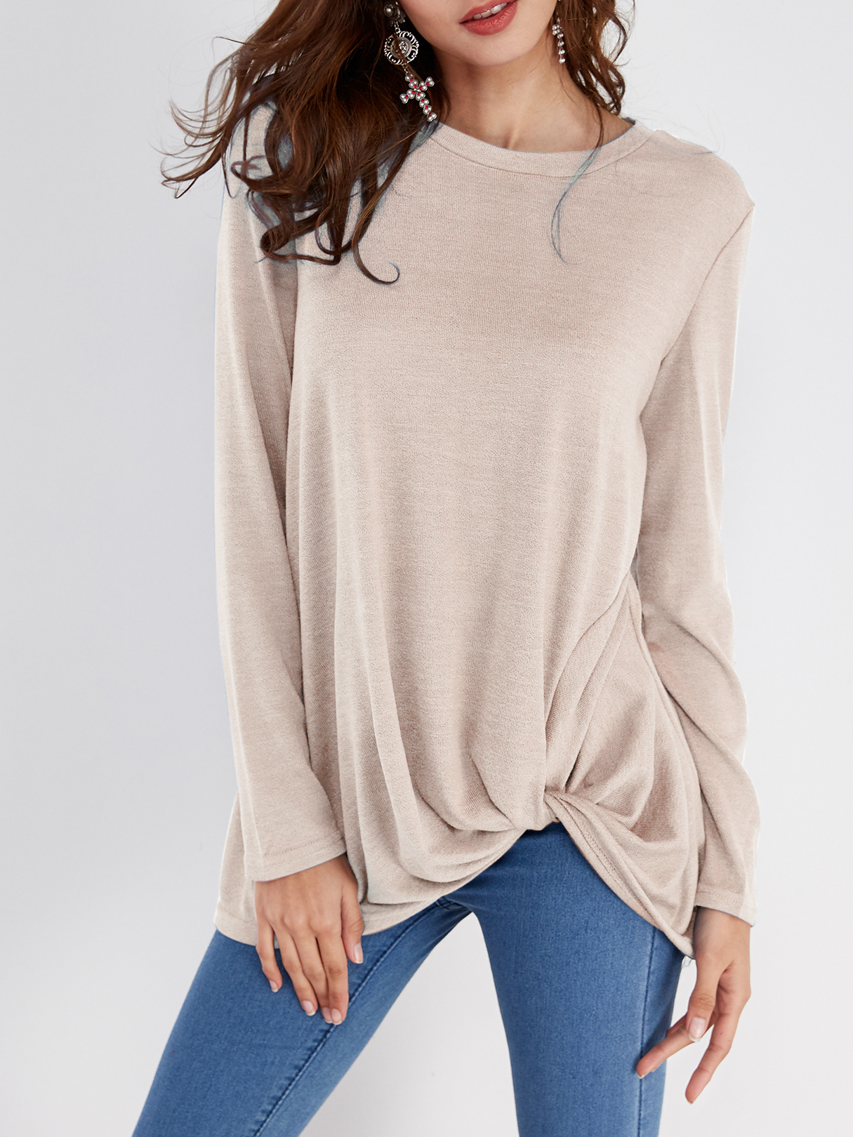 Khaki Pleated Design Round Neck Long Sleeves T-shirts blue pleated design plain crew neck long sleeves t shirts
