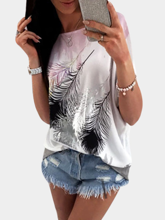 Pink Printed One Shoulder Short Sleeves T-shirts