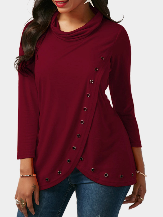 Burgundy Splited Design Roll Neck Long Sleeves T-shirt With Eyelet