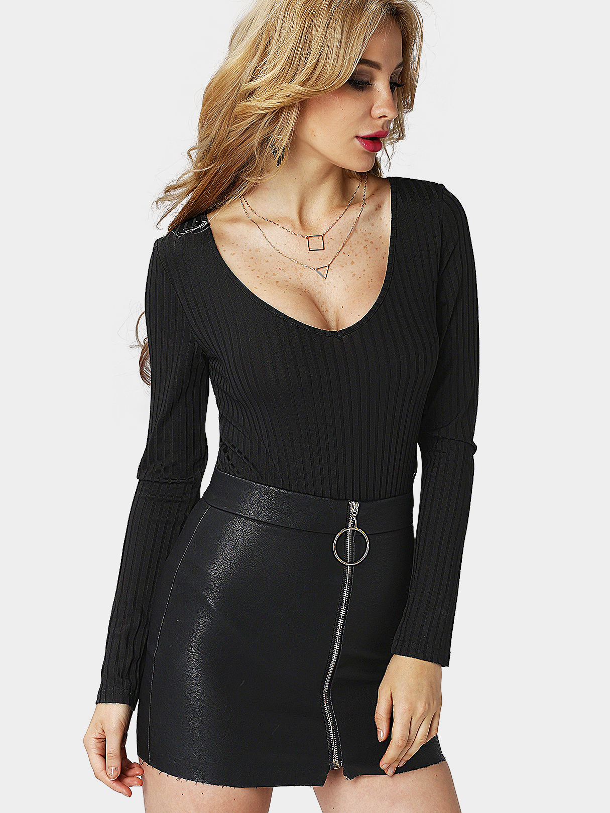 Sexy Black Long Sleeves Lace-up Side Bodysuit