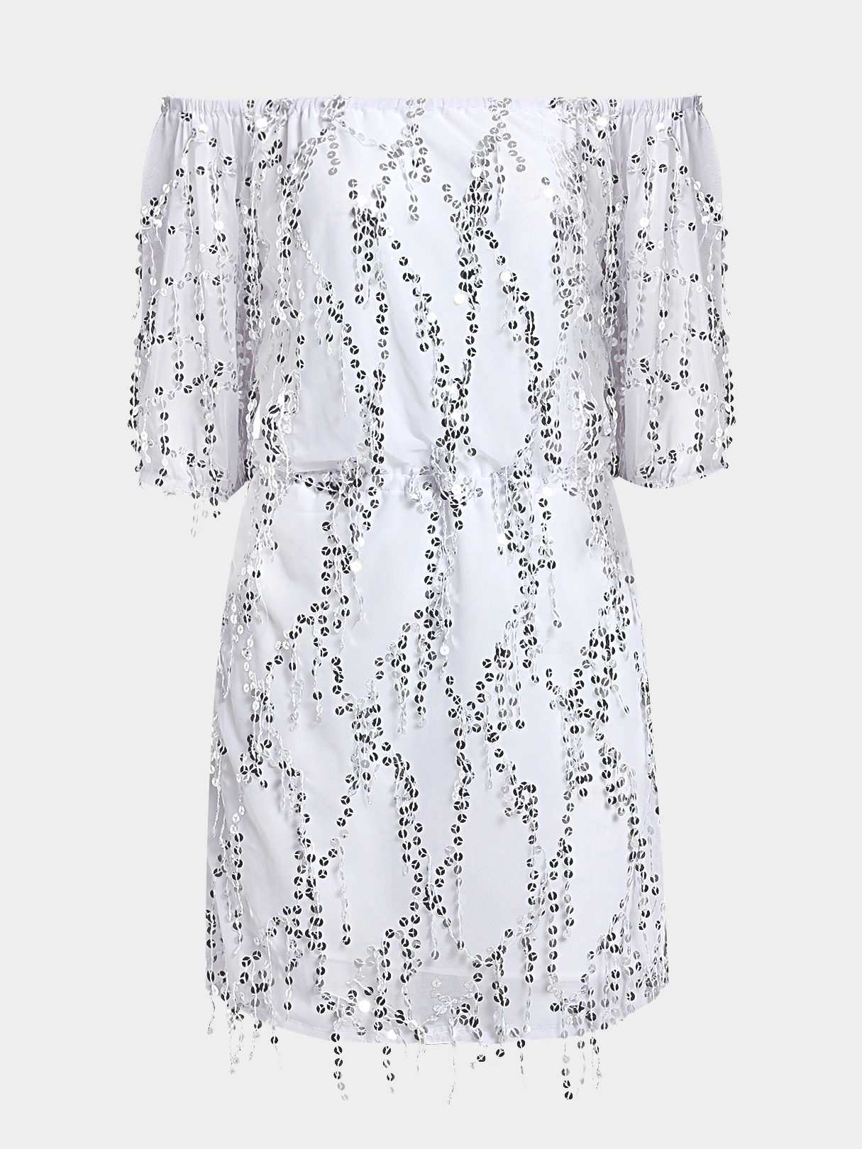 Silver Fashion Off-shoulder Mesh Sequins Embellished Dress