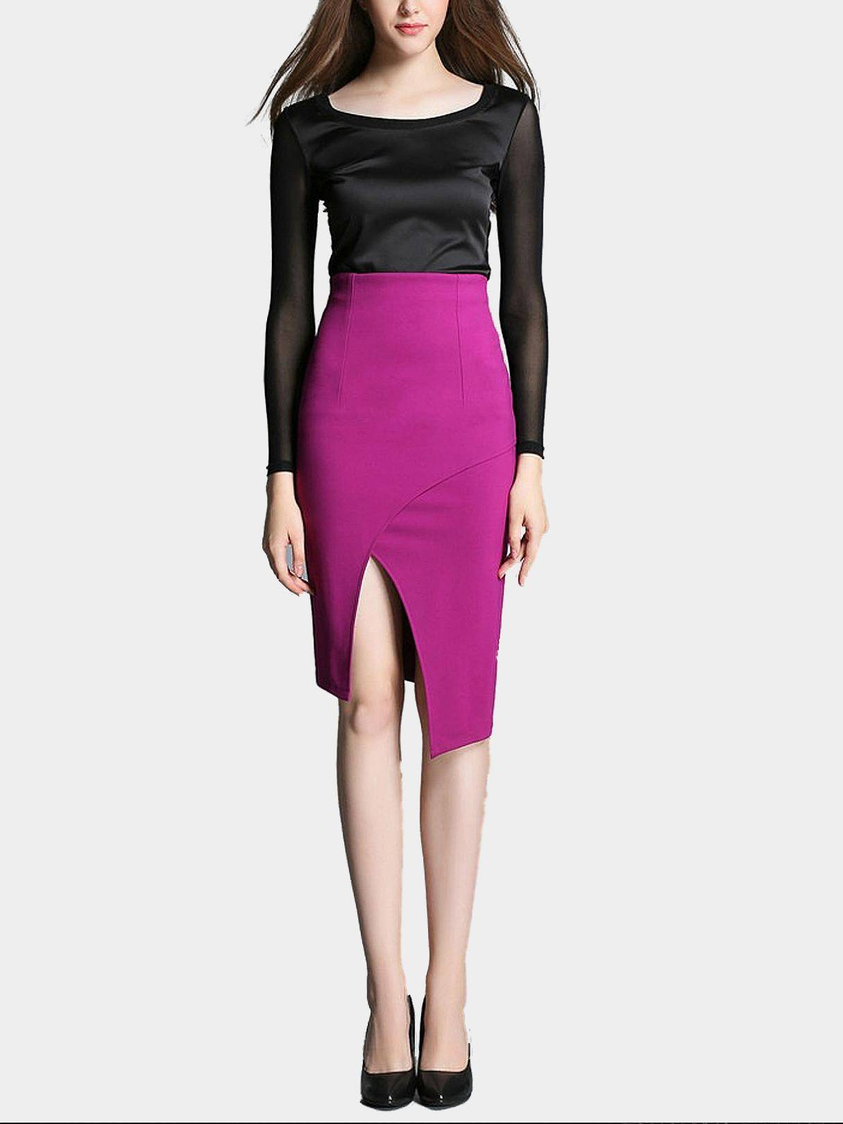 Purple High Waist Pencil Skirt with Split Hem slit back pencil skirt with strap