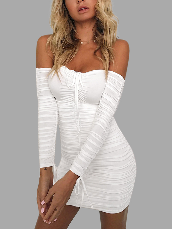 White Lace-up Design Off The Shoulder Long Sleeves Dresses