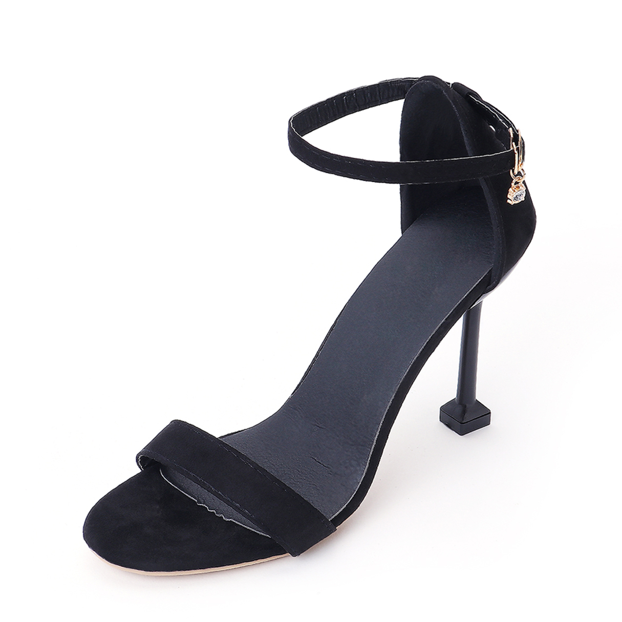 Black Frosted Leather Ankle Strap Heeled Sandals llxf summer sandals plus 34 41 42 43 crossdresser sexy 19 20cm transparent high heeled shoes woman stiletto ankle strap pumps