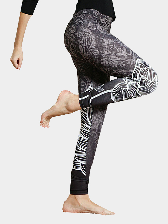 Black Random Floral Printed Yoga Leggings floral print ombre yoga leggings