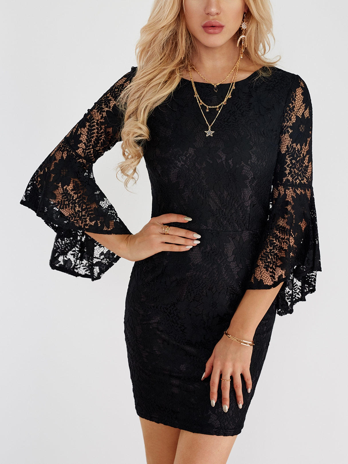 Black Lace Details Flared Sleeves Mini Dresses lace insert flared sleeves mini dress