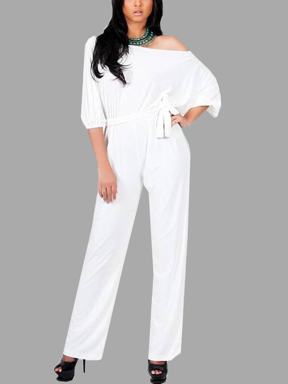 White One Shoulder Self-tied Maxi Jumpsuits микшер soundcraft ct80s usb 8 ktv