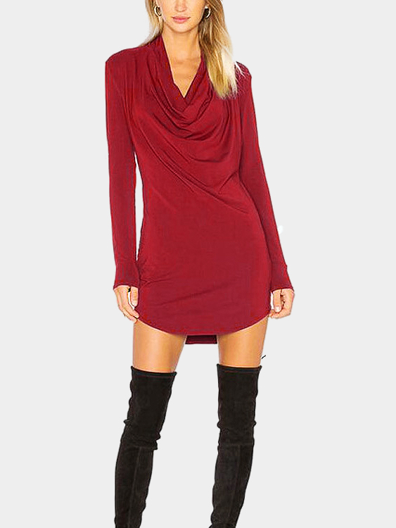 High Neck Plain Burgundy Color Split Hem Casual Dress
