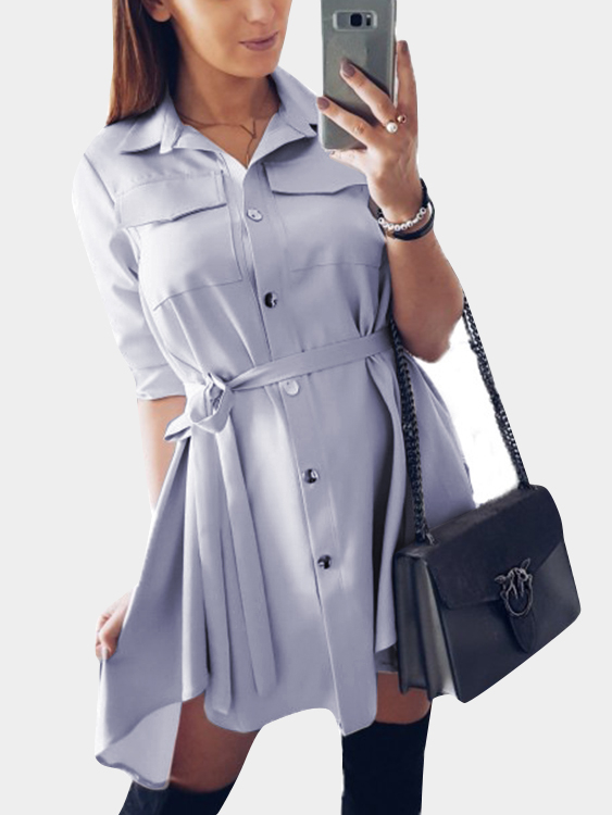 Light Grey Basic Collar Lace-up Design Single Breasted Button Shirt Dress все цены