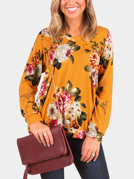 Orange Cut Out Floral Print V-neck Long Sleeves T-shirts green cut out camouflage round neck long sleeves t shirts