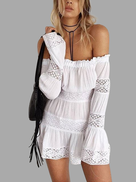 White Off-The-Shoulder Hollow Out Smocked Mini Dress white hollow out off the shoulder long sleeves blouse