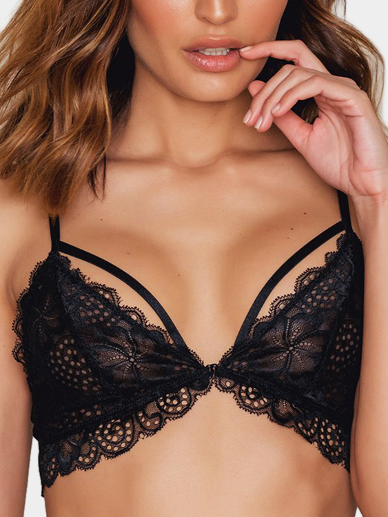 Black Front Buckle Design Sexy Lace Bra