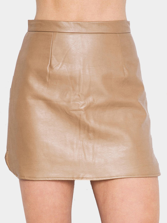 Light-khaki Leather Side Split Mini skirt