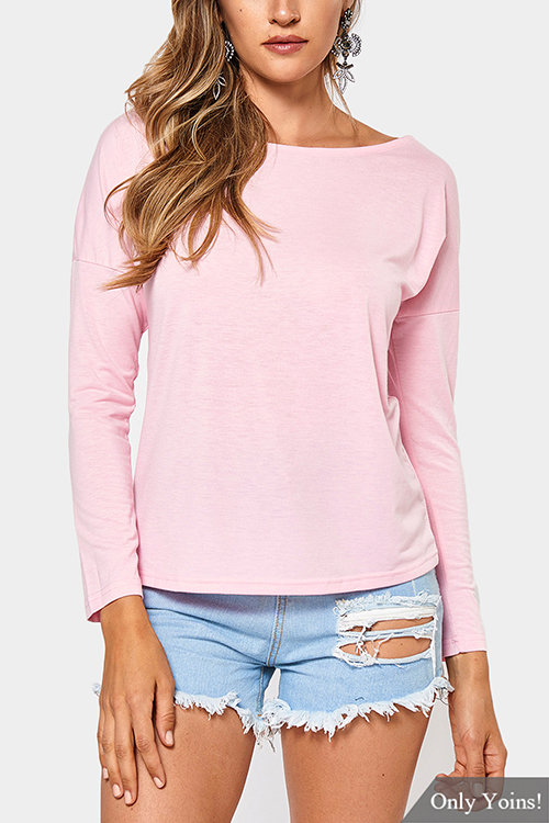 Cutout Round Neck Backless Hollow Details T-shirts in Pink grid hollow design t shirts in black