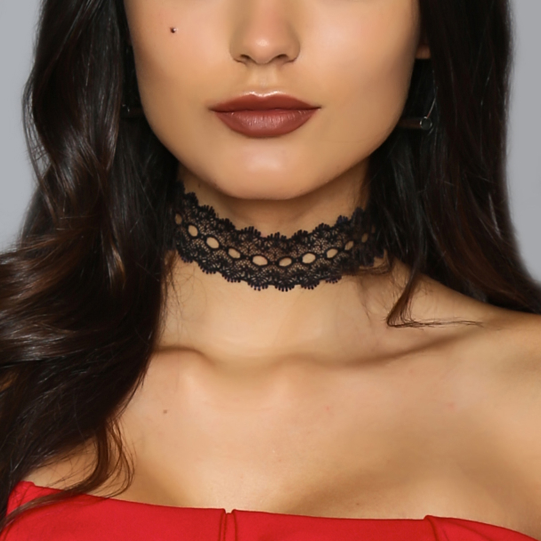 Black Fashion Trend Lace Tattoo Choker Collar Necklace Chain