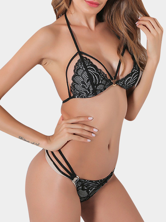 Black Halter Strappy Lace Lingerie Sets with No Falsies sexy white lace hem lingerie with no falsies