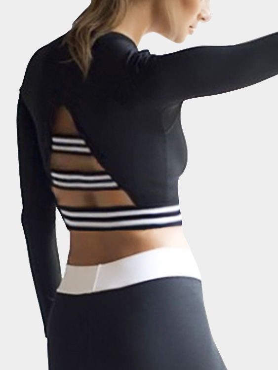 Active Round Neck Cut Out Crop Top in Black make it