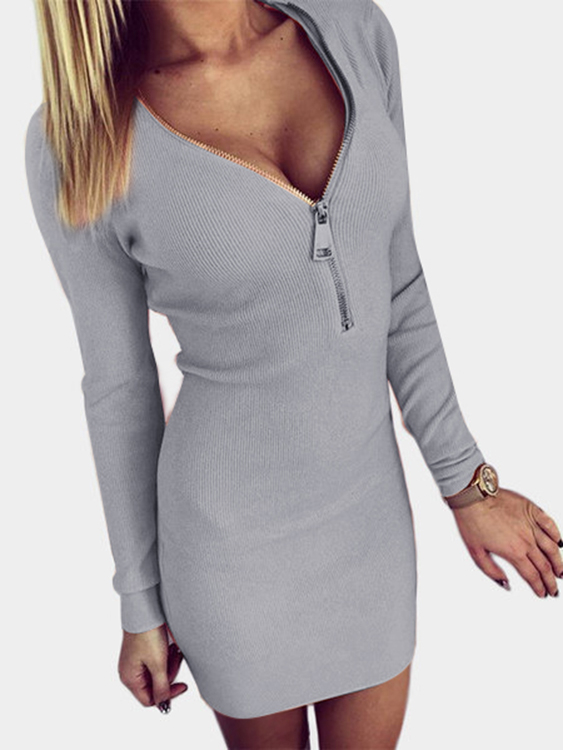 Light Grey Zip Design V neck Long Sleeves Dress