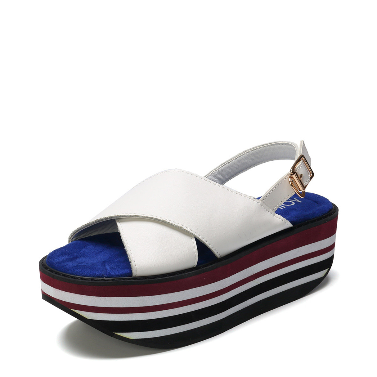 White Stripe Cross Front Platfrom Sandals