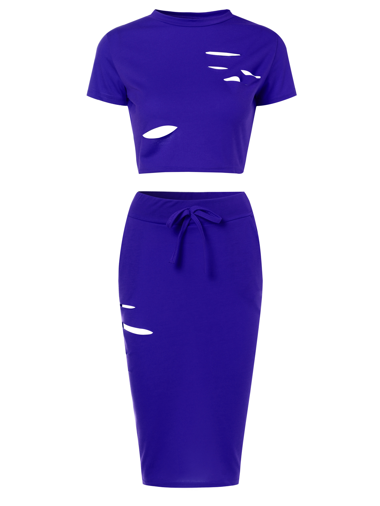 Royal Sexy Ripped Holes Crop Top and Skirt Two Piece Outfits