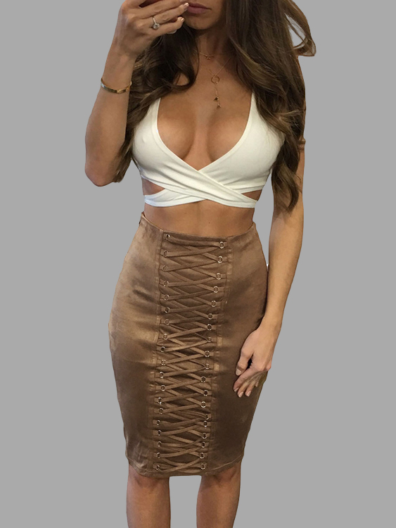 Brown Suede Cross Front High Waist Bodycon Skirt