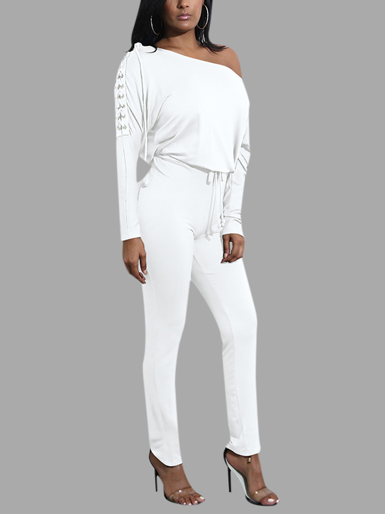 White Plain One Shoulder Long Sleeves Drawstring Waist Jumpsuit
