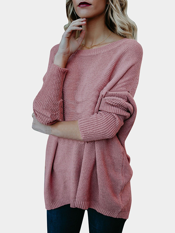 Pink Round Neck Long Sleeves Loose Sweaters red v neck long sleeves splited hem loose sweaters