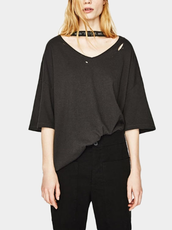Ripped Details Half Sleeves Choker T-shirt black sexy cold shoulder ripped details t shirt